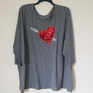 Catherines Top with Sequins Heart Detail